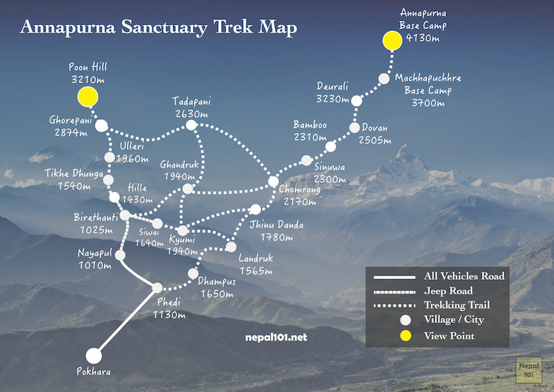 Annapurna Sanctuary Trek Map